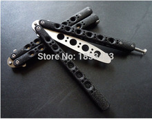 New Version BM40 Stainless Steel knife butterfly Practice Butterfly Training Knife Black butterfly knife Special holes