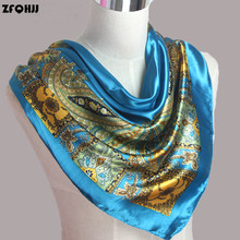 ZFQHJJ 90cm*90cm 2017 Spring France Fashion Bohemia Style Women Silk Polyester Square Scarf Large Silk Shawl Headband Hijab