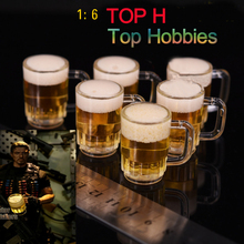 5PCS 1:6 Dollhouse Miniature Drink of Beer Model Liquid can flow for 1/6 Doll Military 12 Inch Figures Scenes Accessories Toy