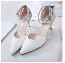 Woman Shoes White Pink High Heel Pointed Toe Ankle Strap Pumps Women's Wedding Bridal Shoes Dress Shoes Size34-39