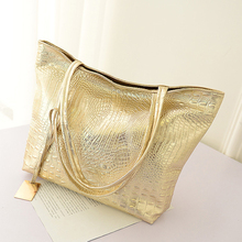 New Women Silver Gold Crocodile Handbag.PU Leather Alligator Pattern Shoulder Bags.Lady Big Tote Shopping Hand Bag.Bolsos Mujer