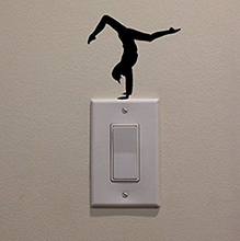 Fitness Girl Hand Stand Stretch on Light Switch Sticker Wall Decal Sticker Art Carving Wall Decal Sticker for Home Decoration