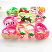 AKWZMLY 10Pcs Korean New Fruit Hair Bands Kids Headband Hair Accessories Boutique Flower Acrylic Sweet Girl Gift Rubber Band