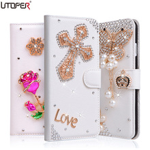 Luxury Rhinestone Diamond PU Leather Cover For Xiaomi redmi note 3 Red rice note 3 Phone Case Stand Flip Wallet + Card Slot Bag(China)