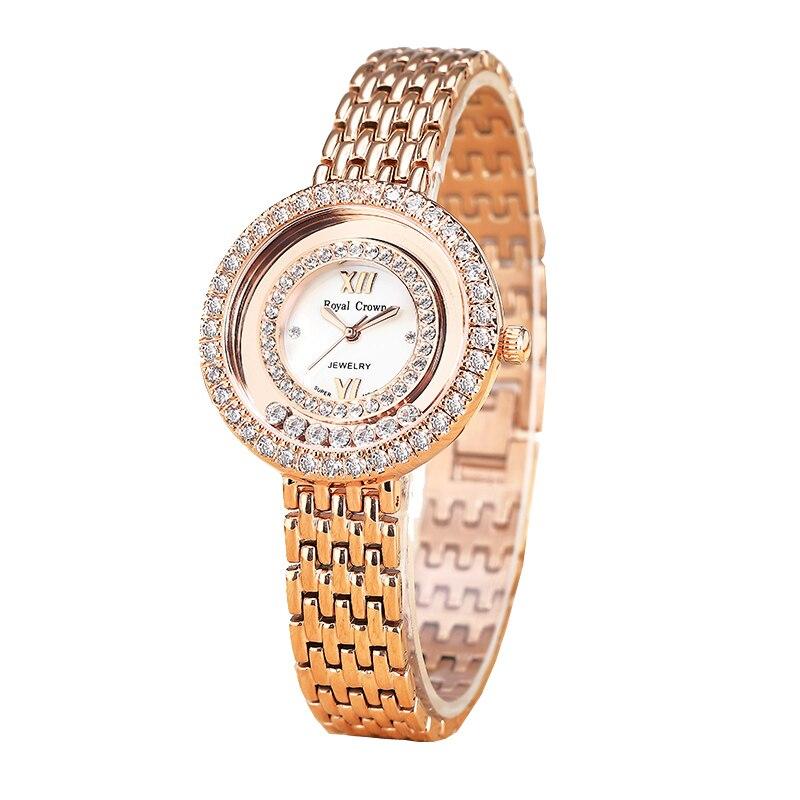 Claw-setting Lady Womens Watch Japan Quartz Fashion Fine Stainless Steel Bracelet Clock Girl Birthday Gift Royal Crown Box<br>
