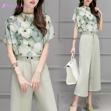 Buy 2 Two Piece Set Women Korea Hot Female Chiffon Blouse Tops Leg Pants Summer printing Casual Sets Clothes Womens Suits for $18.17 in AliExpress store