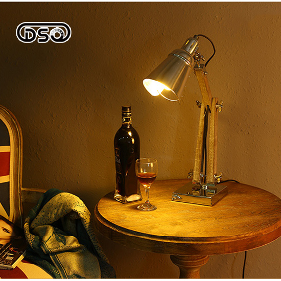 DSQ LED Folding Arm Table Lamp American Creative Personality Industry Retro Solid Wood Learning Eye Lamp Desk Study<br>