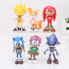 6Pcs/Set 7cm Sonic The Hedgehog Figures Toy Pvc Toy Sonic Shadow Tails Characters Figure Toy Free Shipping(China)