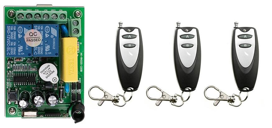 latest AC 220V 2 CH 2CH Remote Control Garage Door RF Wireless Remote Control Switch System 3X Transmitter + 1 X Receiver<br><br>Aliexpress