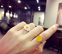 New Arrival Cute Design Positive Energy Yellow Smiley Face Fried Eggs Best Gift for Girls Ring