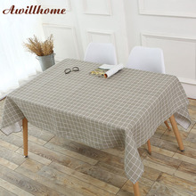 Awillhome 11Size Gray Tablecloths Plaid Home Rectangle Tablecloths Linen Modern Dining Table Cloths Factory Table Covers Party(China)