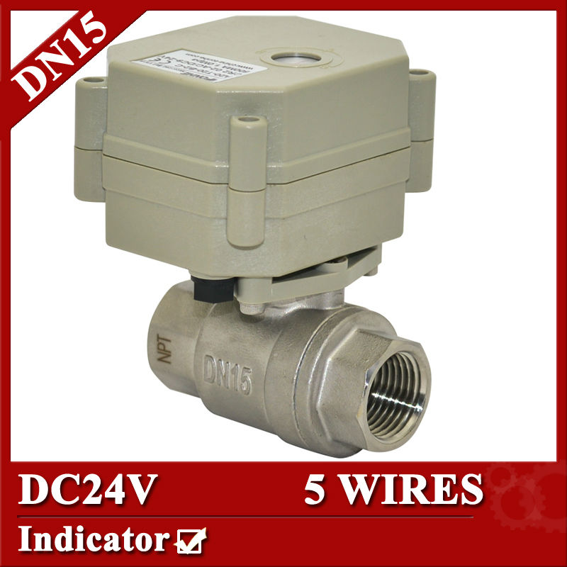 1/2 DC24V electric water valve 5 wires, DN15 SS304 motorized valve 2 way, electric ball valve with indicator<br><br>Aliexpress