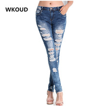 WKOUD Ripped Jeans For Women Irregular Holes Decorate Denim Jeans Females High Elastic Skinny Pencil Pants Casual Trousers P8046