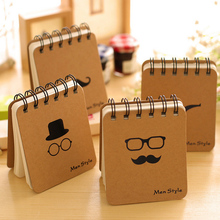 4pcs/lot Hot Sale Mustache Coil Notebook Creative Stationery Notepad Portable Gentleman Eco-friendly Pocket Memo Random WZ