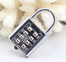 JETTING 4 Digit Push Button Combination Padlock Silver Number Luggage Travel Code Lock Travel Accessories(China)