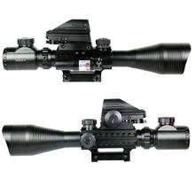 DSstyles Tactical 4-12X50EG Red & Green Illuminated Rifle Scope w/ Holographic 4 Reticle Sight & Red Laser JG8