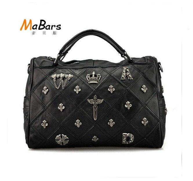 Fashion  bag rivet head the European fashion mosaic Genuine Leather handbag cross layer cowhide leather shoulder hand bag<br><br>Aliexpress