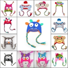 Wholesael -NEW 2014 boy's monkey Hat girl's  Hat Owl - Handmade Knitted Crochet Baby baby  hat -DQX313C