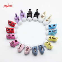 Papabasi 5pair/lot Assorted 5cm Canvas Shoes For 1/6 BJD Doll Fashion Mini Toy Shoes Bjd Shoes for Russian Doll shoes(China)