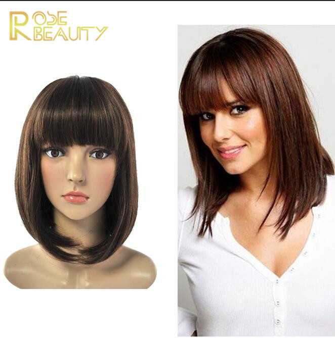 Hot Sale New Synthetic Wigs short Straight Hair wig for woman brown Glamorous fashion straight wig with Front Bang Free Shipping<br><br>Aliexpress