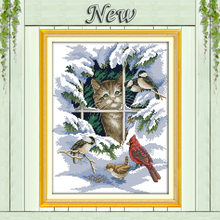 14CT 11CT DMC hand made cross stitch kits,snow scenery winter Cat and birds Needlework embroidery Cross Stitch sets Home Decor(China)