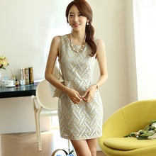 women bottoming vest hot dress was thin Slim Korean summer women chiffon lace dress cheap clothes china Discount promotion(China)