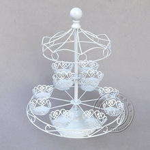 12 Cup Metal Carousel Cupcake and Spins manually Dessert Stand Holder, white Cake Holder Decorating Display Party Tools