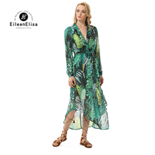 Eileen Elisa Asymmetrical Dress Runway 2017 Printed Dresses Long Sleeve Ankle Length Dress Women(China)