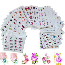 50sheets Retail Mixed Flower 50Styles Water Transfer Sticker Nail Art Decals Beautiful DIY Decor Temporary Tattoos XF1001-1050(China)