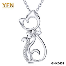 100% Real Pure 925 Sterling Silver Jewelry CZ Crystal Cat Pendant Necklace Top Quality 925 Silver Necklace For Women GNX0451(China)