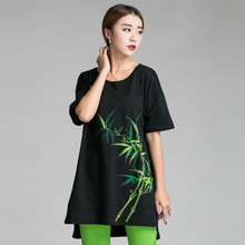2016China style short in front long bamboo Hand-paint big size clothing Summer cotton long T-shirt loose comfortable tee 5XL6XL