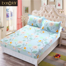 Bonenjoy Bed Sheet With Elastic Blue Flower Printed Bed Linen Queen Size Mattress Covers Fitted Sheet Sets For King Size Bed(China)