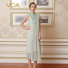 Summer new VOA collar sleeveless silk dress thin women loose long European brief aqua green mid dresses A5733