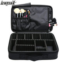 2017 Women High Quality Professional Makeup Organizer Bolso Mujer Cosmetic Case Large Capacity Storage Bag Disassembly Suitcases(China)