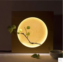 Elegant Style Wooden Table Lamp Creative Home Decoration Bedside Reading Lamp Night Light Moon Shape 250*250*50mm
