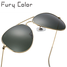 Top quality real G15 Glass lens aviation Sunglasses women men hot rays pilot sun glasses feminin new shades oculos de sol 3025(China)