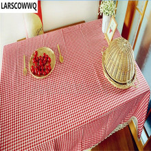 LARSCOWWQ Lattice Vintage Pattern Sunflower Dinning Coffee Table Cotton Linen Cloth Free Shipping Brown Red(China)