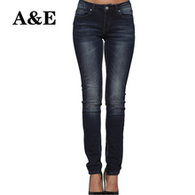 Alice & Elmer Skinny Women Jeans Shortened Woman Jeans For Girls Stretch Mid Waist Jeans Female Pants(China)