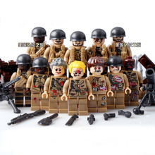 12PCS LegoINGlys WW2 Military Figure Biochemical World War Air Weapons Guns US Army Soldier Swat Team VS Zombies Building Blocks