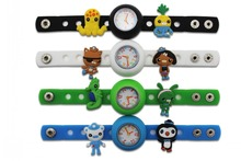 1 piece Diy cute silicone kid Wristwatch watch with 10 pieces The Octonauts shoe charms kid gift(China)