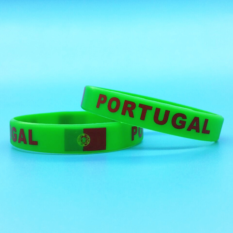 100pcs Portugal Flag Logo Sport Silicone Bracelets Hologram Country ID Rubber Wristband Men Wrist Strap Bangle Pulseira Bandeira