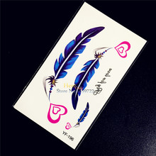 1PC Blue Angel Indian Feather Designs Fake Flash Tattoo Girl Body Art Arm Legs Tatoo HYF-196 Love Heart School Tattoo Stickers