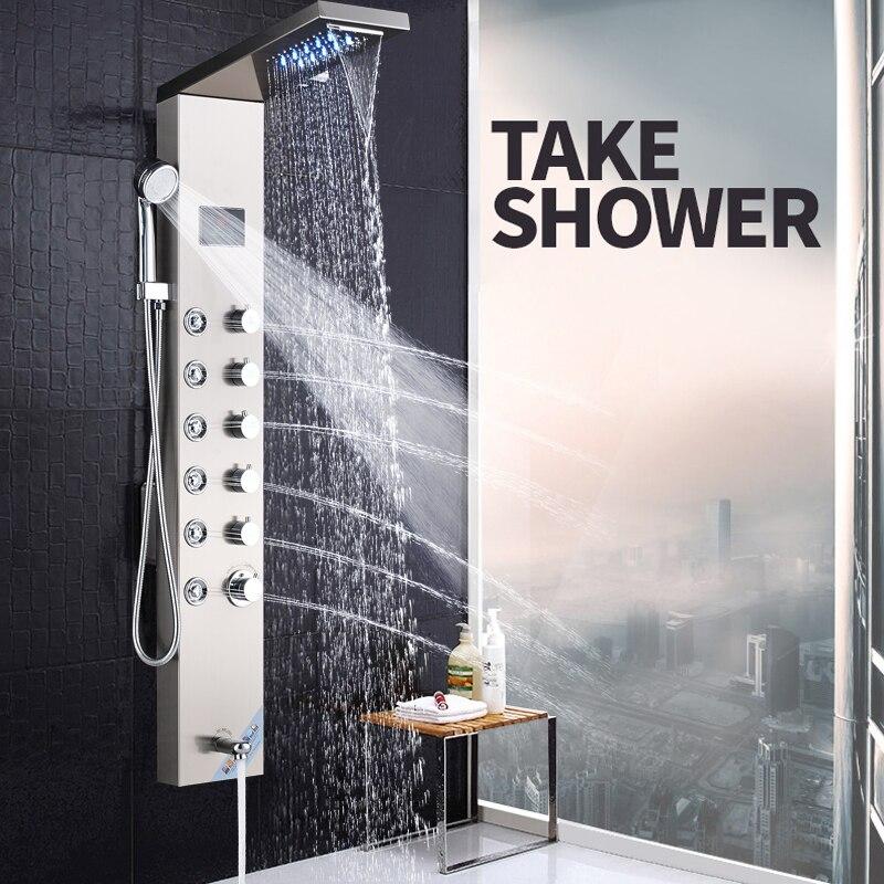 Bathroom Fixtures Shower Faucets Senlesen Shower Column Panel Thermostatic Valve Rain Waterfall Shower Head Massgae Shower System Para Bathroom Shower Douche