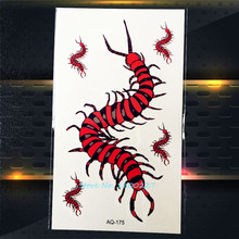 1PC Flash Red Black Centipede Metallic Body Art Paint Tattoo Stickers PAQ-175 3D Brand New Design Body Arm Tatoos For Men Women