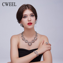 CWEEL Charms Bracelets Bangles Stud Earrings Engagement Ring Jewelry Sets For Women Silver Color Vintage Necklace Accessories