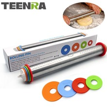 TEENRA 1Pcs 44cm Length Adjustable Rolling Pin Stainless Steel Fondant Rolling Pin Cake Roller Dough Rolling Pin Bakeware Tools(China)