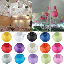 "10pcs 8"" (20cm) Round Paper Lanterns Wedding Birthday Party Decorations Supply Lamp Chinese Paper Ball(China)"