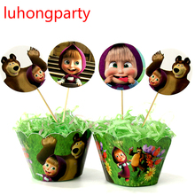 12pcs wrappers + 12pcs toppers lovely bear cupcake cartoon toppers kids birthday party cake decoration supplies