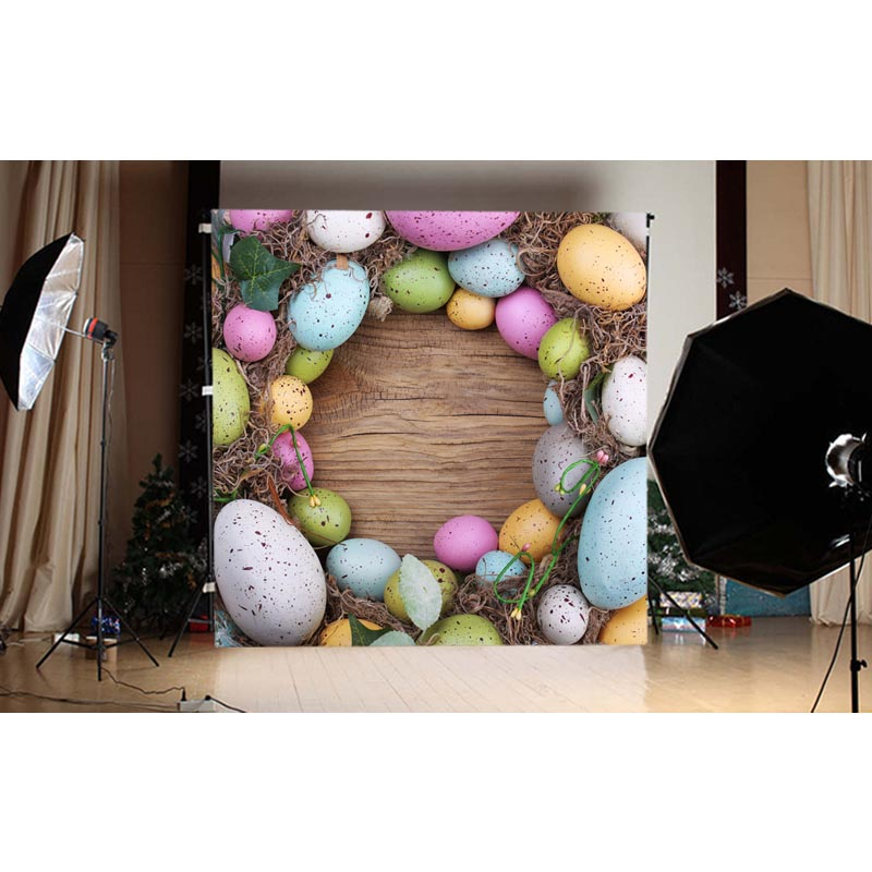 1.5X1.5M Brown wood with colored eggs on Easter printed vinyl background GE-127<br><br>Aliexpress