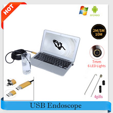 Golden 7MM Waterproof 6 LEDs USB Endoscope 2-in-1 USB Micro Connector Borescope for Android Phone / PC Inspect 2M/5M/10M Cable